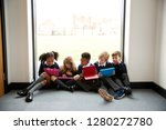 five primary school kids... | Shutterstock . vector #1280272780