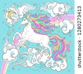 beautiful white unicorn with a... | Shutterstock .eps vector #1280273413