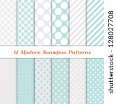 "Jumbo Polka Dot, Gingham and Diagonal Stripe Patterns in Aqua Blue, White and Silver. Pattern Swatches with Global Colors. Matches my other ""White Christmas Backgrounds"" Image ID: 118541659; 147772760"