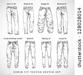 denim fit vector sketch set | Shutterstock .eps vector #128028014