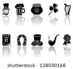 Set of black icons on a white background, illustration. - stock vector