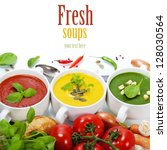 three soups are located in the... | Shutterstock . vector #128030564