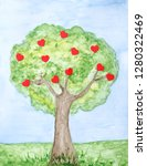 painted  love tree with hearts | Shutterstock . vector #1280322469