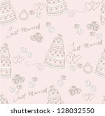 wedding cake   hearts vector... | Shutterstock .eps vector #128032550