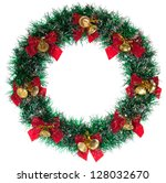 green christmas wreath isolated ... | Shutterstock . vector #128032670
