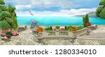 Small photo of Beautiful panorama overlooking the sea. Beautiful view. Digital fresco