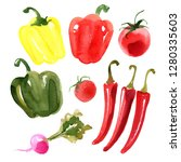 sweet colored peppers  hot red... | Shutterstock . vector #1280335603