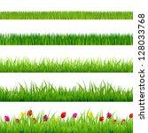 big green grass and flowers set ... | Shutterstock .eps vector #128033768
