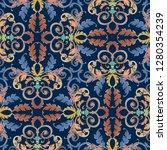baroque seamless pattern. blue...   Shutterstock .eps vector #1280354239