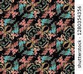 baroque seamless pattern. black ...   Shutterstock .eps vector #1280354356