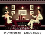 A Couple In A Restaurant Of The ...