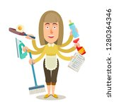 woman with many hands and home... | Shutterstock .eps vector #1280364346