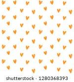 hearts seamless pattern. pencil ... | Shutterstock .eps vector #1280368393
