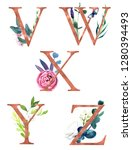 decorative floral alphabet with ... | Shutterstock . vector #1280394493