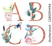 a  b  c  d  decorative floral... | Shutterstock . vector #1280394496