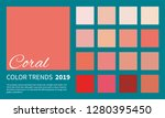 coral   color trend spring  ... | Shutterstock .eps vector #1280395450