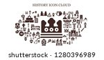 history icon set. 93 filled... | Shutterstock .eps vector #1280396989