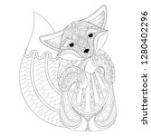 coloring book cover with fox.... | Shutterstock .eps vector #1280402296