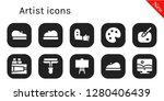 artist icon set. 10 filled...