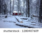 winter chaos with deep snow and ... | Shutterstock . vector #1280407609