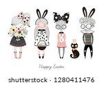 vector set of easter themed... | Shutterstock .eps vector #1280411476