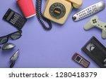 retro objects on purple... | Shutterstock . vector #1280418379