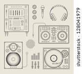 vector set of various stylized... | Shutterstock .eps vector #128041979