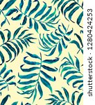 tropical palm leaves seamless... | Shutterstock . vector #1280424253