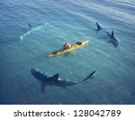 a man in a boat  kayak. was... | Shutterstock . vector #128042789
