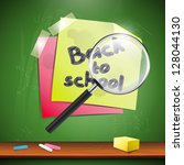 note papers on green blackboard | Shutterstock .eps vector #128044130