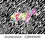 zebra with strips of different...   Shutterstock .eps vector #128044640