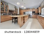 kitchen in luxury home with... | Shutterstock . vector #128044859
