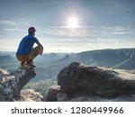 man risk at the edge. man in... | Shutterstock . vector #1280449966