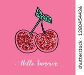 glitter cherry pink star text... | Shutterstock .eps vector #1280454436