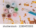 picture by numbers. drawing on... | Shutterstock . vector #1280455303