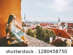 woman sightseeing tallinn city... | Shutterstock . vector #1280458750