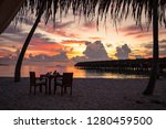 beautiful sunset in the maldives | Shutterstock . vector #1280459500
