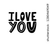 i love you unique hand drawn... | Shutterstock .eps vector #1280469049