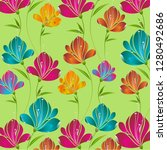 flowers pattern vector... | Shutterstock .eps vector #1280492686