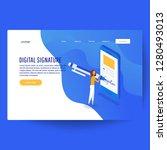 digital signature. flat 3d web...   Shutterstock .eps vector #1280493013