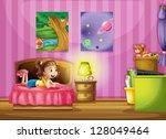 illustration of a little girl... | Shutterstock .eps vector #128049464