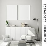 mock up poster frame in modern... | Shutterstock . vector #1280496823