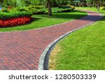 red blocks footpath with... | Shutterstock . vector #1280503339