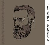 hipster man portrait with beard ... | Shutterstock .eps vector #1280507953