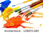 paints and brushes | Shutterstock . vector #128051180