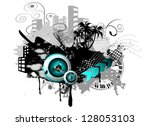 urban with speaker and grunge... | Shutterstock .eps vector #128053103