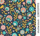 folk art flowers swedish... | Shutterstock .eps vector #1280539993
