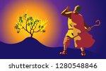 moses in desert  on mount sinai.... | Shutterstock .eps vector #1280548846