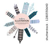 city illustration sketch ... | Shutterstock .eps vector #1280550640