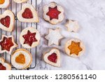 flat lay with christmas cookies ... | Shutterstock . vector #1280561140